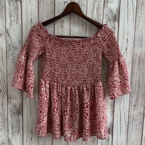 Society Girl red/white off the shoulder top size M